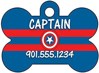 Captain America The Avengers Dog Tag Pet Id Tag Personalized w/ Name & Number
