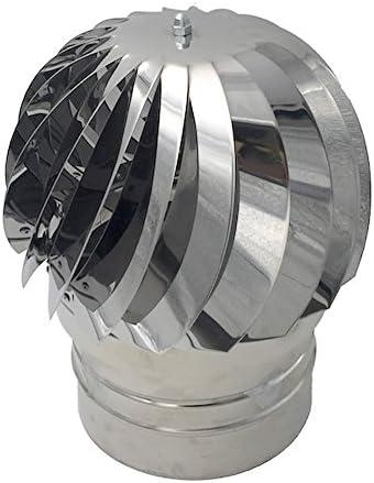Extracteur de fumées rotatif éolien en inox AISI304 base ronde chapeau de cheminée toutes dimensions … 100 mm
