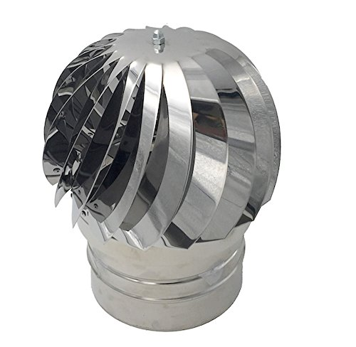 Einside AISI304 - Sombrero de Chimenea Extractor de Humo Giratorio de Viento, Acero Inoxidable, 120 mm