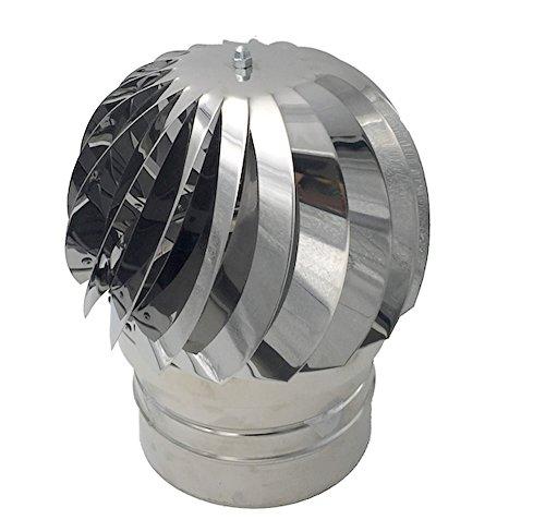 Comignoli girevoli, Cappello eolico per camini in acciaio inox, Base tonta Ø 100 mm