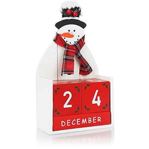 com-four® Calendario dell'avvento in Legno - Calendario cubo con Motivi Natalizi - Calendario Decorativo da Tavolo per Il Conto alla rovescia per Il Natale (Pupazzo di Neve)
