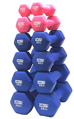 SPEEDMARK ( 動画付 ) ダンベル ノンスリップ 2個セット オリジナル 1kg 2kg 3kg 4kg 5kg 10kg 鉄アレイ (ブルー3kg 2個セット)