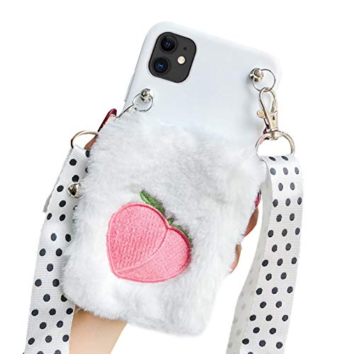 SGVAHY Fluffy Wallet Case para iPhone 11 Pro Max, Cute Fur Avocado Coin Wallet Cover Case with Long Lanyard Ultra Slim Soft silicona Case antigolpes, iPhone 6 Plus/6s Plus, Melocotón