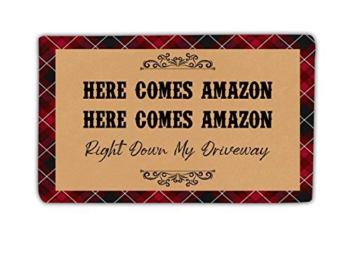 Here Comes Amazon Right Down Driveway Christmas Custom Door Mat For Home Entrance, Outdoor Indoor Floor Rug, Personalized Kitchen Mat, Welcome Doormat For Front Door, Entryway Rugs For Shoe Scraper