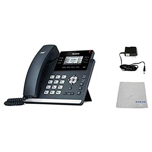 Global Teck Bundle of Yealink T42S SIP POE Office Phone Bundle with Power Supply and Microfiber Cloth   Requires VoIP Service - Vonage, Ring Central, 8x8, Mitel or Cloud Services