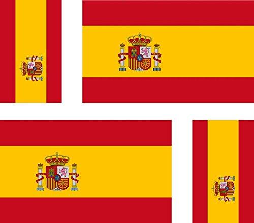 Akachafactory 4 x Aufkleber Sticker Auto, Motorrad, Koffer, pc, Smartphone, Flagge Spaniens