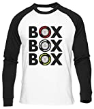 Box Box Box Tyre Compound T-Shirt da Baseball Uomo Donna Unisex Bianca Cotone Organico Men's Women's White