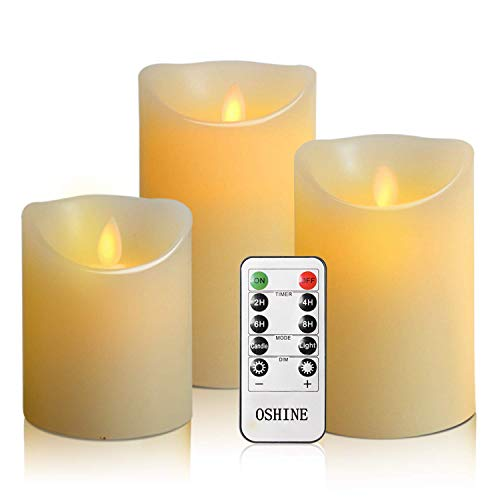 OSHINE flameless Candles, flameless Candlestick, flameless Battery Candles, Battery Remote Control Candles, LED Candles 3 Piece Set 4