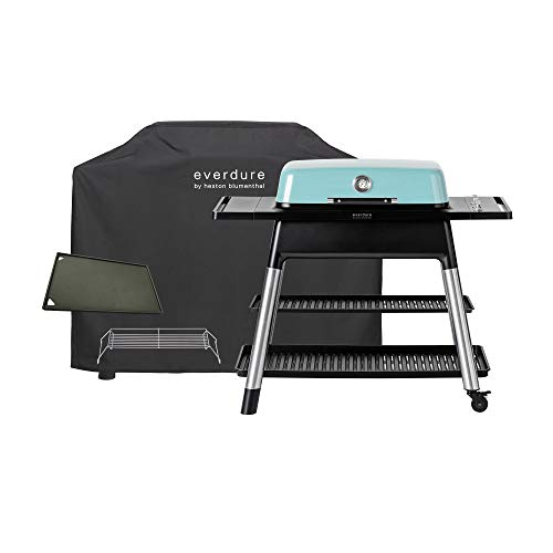 Everdure Furnace by Heston Blumenthal 3-Burner Liquid Portable Propane Gas Grill, Cover and Accessory Bundle: Die-Cast Aluminum Body, Mint Grills Propane