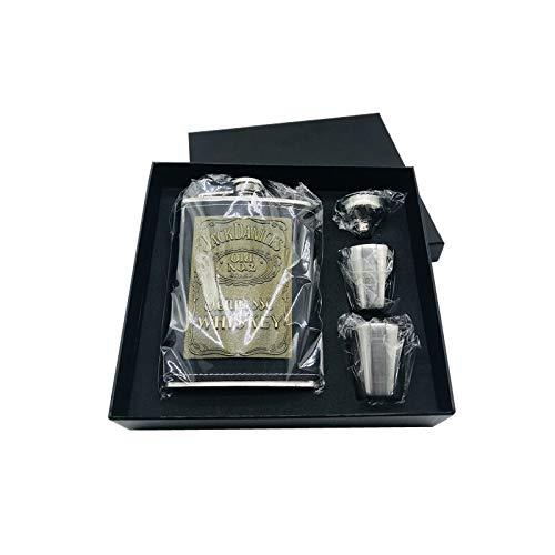 Petacas De Alcohol Chaqueta de cuero de la PU Wrap jarra de acero inoxidable de alcohol Vodka cadera embudo frasco Regalo Negro Box Set whisky Petacas (Color : 8oz set)