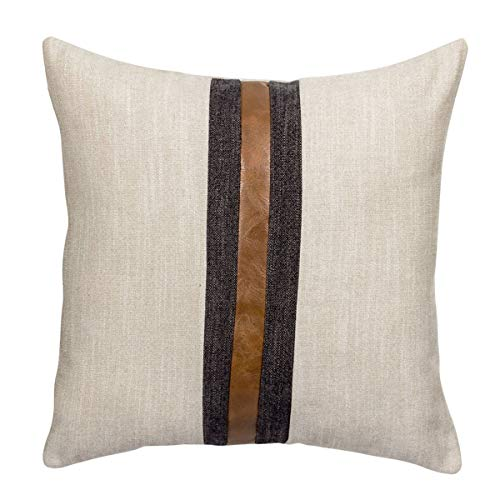 CARLOTA Farmhouse Decorative Outdoor Throw Pillow Covers for Couch Sofa Bed Brown Faux Leather Accent Pillow Cover Modern Decor Pillow Case 18 x 18 Inch (Beige)