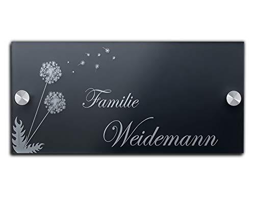 Designer Hausnummer mit individueller Gravur aus Acrylglas Schild ab 21x10 cm