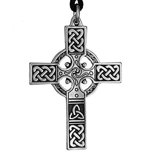 Pewter Small Celtic Knotwork Irish Cross Pendant - 1.75 Inches Long
