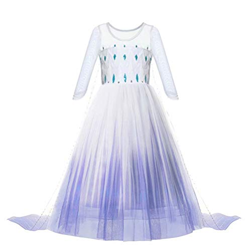 Princess Dress up Costume - Girls Ice 2 Halloween Birthday Party Cosplay Outfit for Little Child Kid Teen White