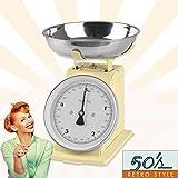 GOURMETmaxx Báscula de Cocina analógica, diseño Retro, Acero Inoxidable,...