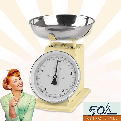 GOURMETmaxx Küchenwaage in nostalgischem Retro-Design | Erinnerungen an die goldenen 50er Jahre | Edelstahl-Waagschale mit exakten Messergebnissen und Tara-Funktion [Vanille]