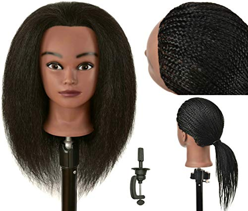 FUTAI 100% Human Hair Mannequin Head Manikin Cosmetology Makeup Manican Doll Heads with Stand for Display Practice Braiding Styling Training Coloring Bleaching Dyeing Curling Cutting Updos