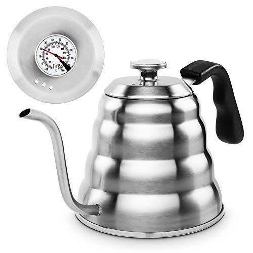 YFGQBCP Calentador de Agua Hervidor de Agua Hecho a Mano de Acero Inoxidable for té o café termómetro, Adecuado for Cocina de Gas y cerámica, 1.2 L