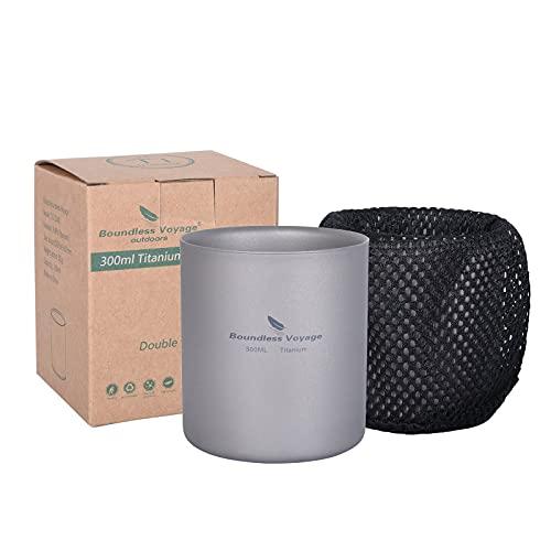 iBasingo Doppelwandige Titan Becher 300ml Mini Isolierte Tasse Outdoor Camping Faltbare Kaffee Trinkgeschirr Leichtes Langlebiges Geschirr für Täglich Gebrauchtes Wandern Ti3029D