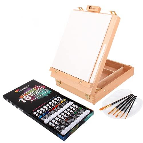 Scatola Pittura Acrilica per Artisti con Cavalletto di Legno, 18 Colori di Acrilici, 6 Pennelli per Pittura - Tela 24x30cm, Spatola e Tavolozza - Regali per Artisti