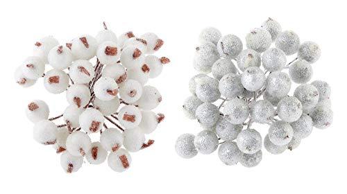 Kungfu Mall 2 set di mini bacche artificiali natalizie Accessori natalizi Fiori artificiali Decor 2 colori - Bianco / Argento 13 cm