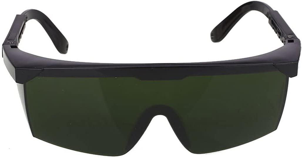 Gobutevphver Gafas de protección láser Gafas de Seguridad láser Protección Ocular para depilación Ipl/E-Light Gafas Protectoras de Seguridad Gafas universales Gafas - Verde Oscuro