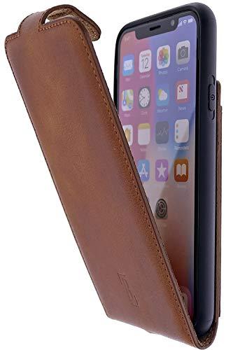 Burkley Handyhülle für iPhone X/iPhone XS Hülle kompatibel mit Apple iPhone X/XS Schutzhülle Flip Handytasche mit Kartenfach (Antik Sattelbraun)