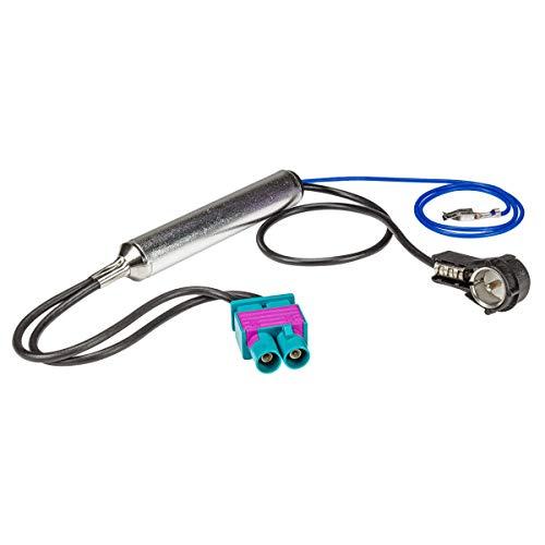 tomzz Audio 1503-008 Double adaptateur d'antenne Fakra avec alimentation fantôme compatible avec Audi Seat Skoda VW Citroën Peugeot Opel vers ISO