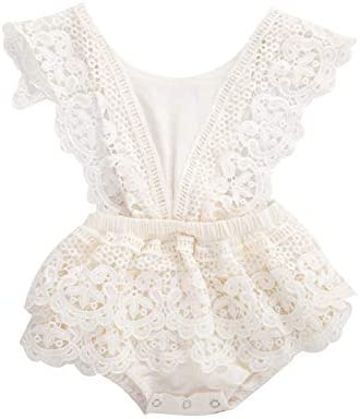 2Pcs Newborn Baby Girl Lace Ruffles Sleeve Bodysuits Backless Jumpsuit Clothes Romper Set Lace product image