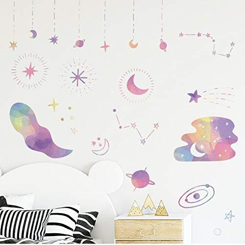 Pegatina de pared de nubes de luna de dibujos animados para habitación de niños estrellas bebé guardería dormitorio sala de estar decoración de pared extraíble Diy arte Mural