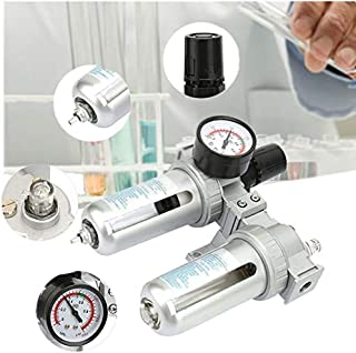 Simlug G1//2Filtro de compresor de Aire Separador de Agua y Aceite Trampa con man/ómetro regulador FRC-1//2-MIDI