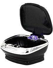 Cenicero para auto portátil, Mini Easy Clean Up Cenicero para auto ignífugo, desmontable y resistente a las llamas con tapa azul Cenicero para cigarrillos con luz LED - Negro