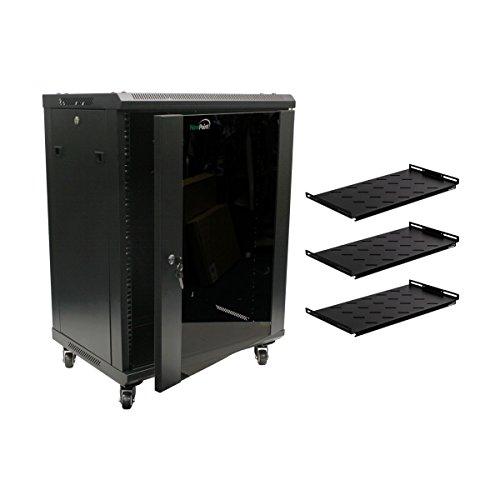 NavePoint 15U Wall Mount Network Server Cabinet Rack Glass Door Lock w/Casters and Shelves