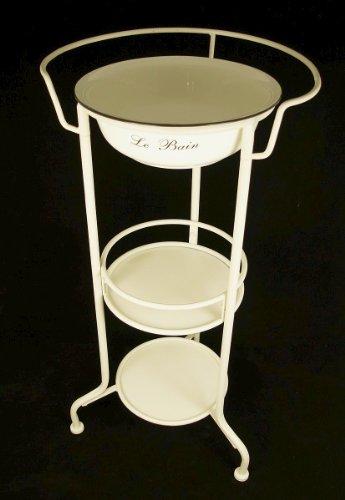 Waschtisch Waschschüssel Schüssel im Ständer Emaille weiß Nostalgie Antik