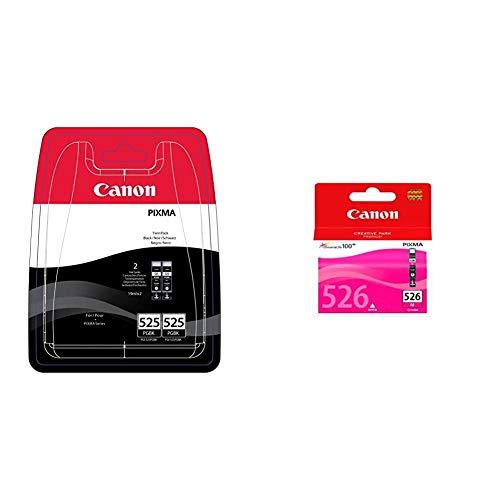Canon PGI-525 2 Cartuchos Twinpack de Tinta Original Negro para Impresora de Inyeccion de Tinta Pixma + CLI-526 M Cartucho de Tinta Original Magenta para Impresora de Inyeccion de Tinta Pixma