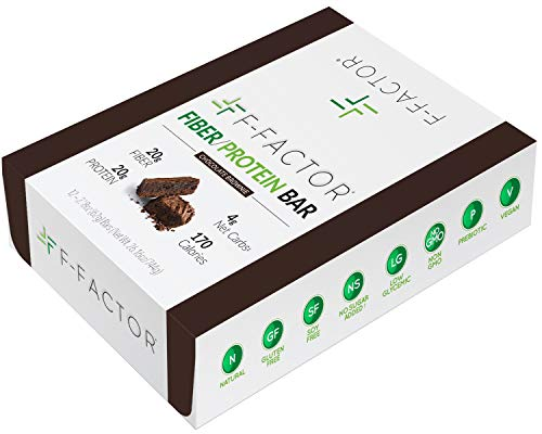 F-Factor® Chocolate Brownie Fiber Protein Bar, High Fiber, High Protein, Low Carb, Gluten Free, Low Sugar, Vegan, Soy Free, Natural, Keto Friendly, Healthy & Convenient Snack, 12 Count