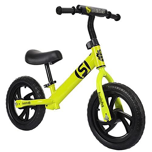 NAINAIWANG Bicicleta sin Pedales Equilibrio para niños pequeños Liviana Entrenamiento Deportiva 12 Inch para niños pequeños Asiento Ajustable para niños y niñas de 18 Meses de 2 a 5 años