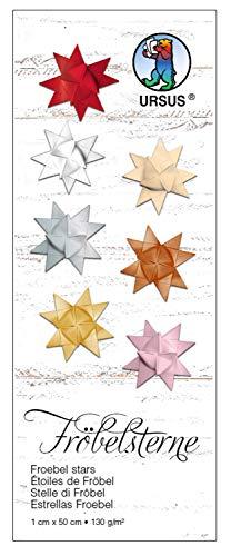 Ursus 3200078 - Papierstreifen für Fröbelsterne, gold matt, aus Tonzeichenpapier 130 g/qm, ca. 1 x 50 cm, 100 Streifen für ca. 25 Sterne, Bastelklassiker zur Weihnachtszeit