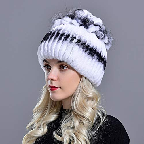 Sombreros para Mujer Gorro de Invierno Tejido para Mujer Gorros de Nieve clidos para Mujer Elegante Gorro de Princesa Gorros-White Black 0-56-59cm