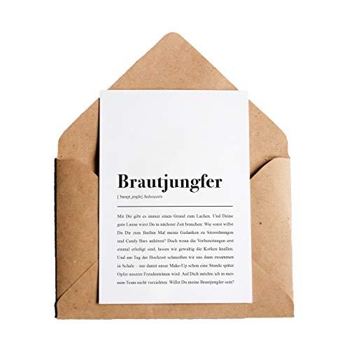 Brautjungfer: Karte mit Umschlag - Brautjungfer Definition