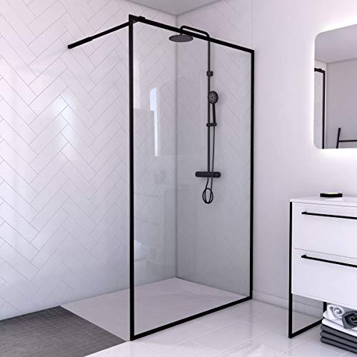 Aurlane PACF009 - Juego de mampara de ducha, color negro
