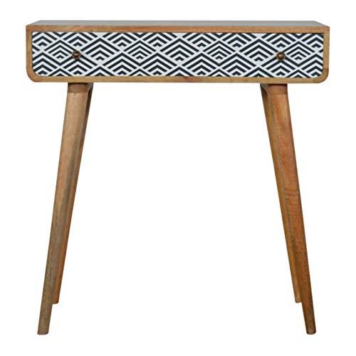 Artisan Furniture Black and White Diamond Print Console Table Schreibtisch, Holz, braun, Einheitsgröße