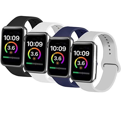AK 4er-Set Kompatible Für Apple Watch Armband 38mm 42mm 40mm 44mm, Weiche Silikon Ersatz Armband für Apple Watch Series 5/4/2/3/1 (Schwarz/Marineblau/Grau/Weiß, 38mm/40mm-S/M)