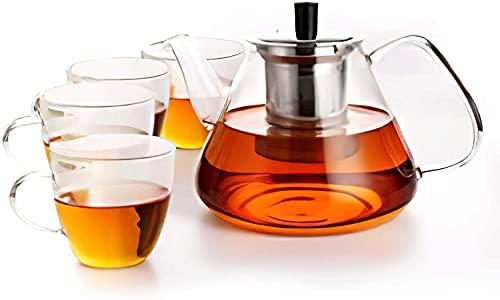 Tee-Set mit 4 Gläsern Teekanne 1350mL Teebereiter Hitzebeständig mit Siebeinsatz Edelstahl Glas Transparent Glatt TeaPot aus Borosilikatglas Beheizbar Glaskanne