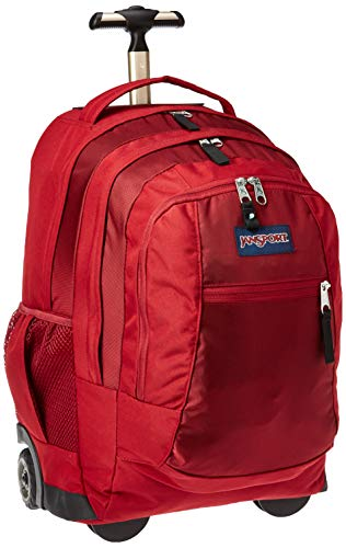 Jansport Driver 8 Rolling Backpack - Wheeled Travel Bag with 15-Inch Laptop Sleeve, Viking Red