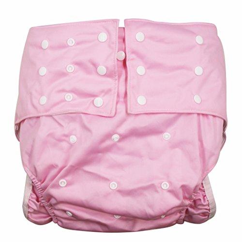 lukloy Mujer Adultos pañales para incontinencia cuidado ropa interior de protección–doble apertura bolsillo lavable reutilizable leakfree para cintura ajustable grande tamaño 65~ 135cm) rosa rosa