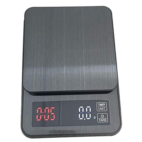 MCAA Präzisions-Küchenwaage Manuell gestanzte Edelstahl-Chronographen-Kaffeewaage Elektronische Waage Küchenwaage Chronographen-Waage 5 kg / 0,1 G.