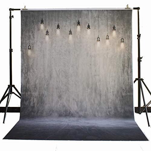 FiVan Backdrop voor Studio Pasgeboren Baby Fotografie Vinyl Achtergrond Photo Booth Prop Betonnen Muur en Lamp D-7967(5x7ft)