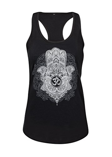 Hand der Fatima Hamsa Hand Om Symbol Damen Yoga Pilates T-Shirt Top – Gr. M