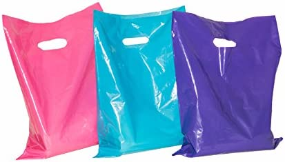 150 9x12 Merchandise Bags with Handles ACME Bag Bros Small Glossy Purple Pink Teal Plastic Merchandise product image